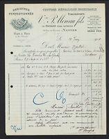 """NANTES (44) USINE de REGISTRES / COUTURE METALLIQUE """"Vve P. MOREAU Fils"""" en 1914"""
