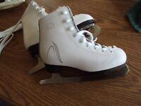 Lake Placid White Figure Girls Ice Skates size Jr 12 J12 GS blades