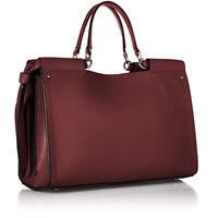NEW CALVIN KLEIN Callie Burgundy Leather Knot Tote Satchel Shoulder Handbag