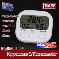 DIGITAL HYGROMETER THERMOMETER TEMPERATURE HUMIDITY METER CLOCK ALARM LCD WHITE