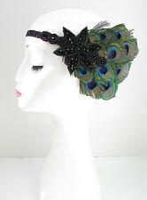 Negro Pluma de pavo real Tocado Flapper años 20 diadema Vestido purpurina azul