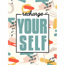 Funky Affirmation Recharge Yourself Wall Premium Wall Art Canvas Print 18X24 In
