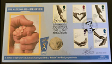 1998 50p Coin Cover - NHS - Signed By Dr Hilary Jones FDC PNC Fifty Pence