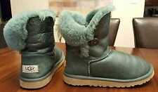 Women's UGG AUSTRALIA Bailey Button Green Metallic Boots Size 6