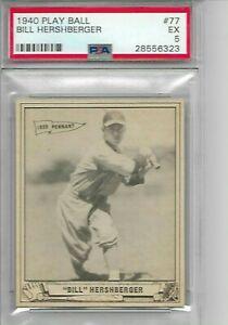 Lonny Frey Cincinnati Reds 1940 Play Ball Baseball Card #76 Baseball Slabbed Rookie Cards PSA Graded 5 Excellent