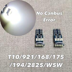 Parking Light T10 SMD LED Wedge BULB 194 175 2825 168 12961 W5W 6000K WHITE W1 E