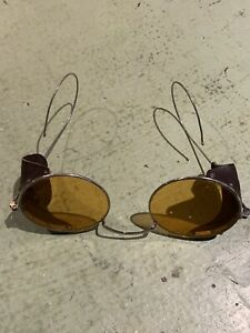 Vintage WILLSON SAFETY GLASSES, Yellow Lenses, Steampunk goggles/ leather sides