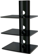 Black Glass DVD Shelves Shelf 3 Tiers for SKY Box Player LCD LED TV Wall Bracket