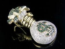 "10K Yellow Gold Real Diamond Green Dollor Money Bag Pendant Charm 1 1/3 Ct 1.5"""
