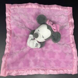 Disney Store Gray Minnie Mouse Baby Lovey Blanket Pink Stars Satin Trim Sleeping