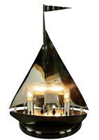 Art Deco Tisch Leuchte Segelboot Holz + Chrom Lampe Nautic Design Schiff 30er