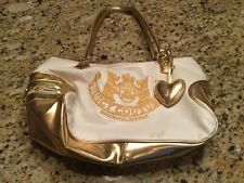 JUICY COUTURE WHITE/GOLD CARRY ON LARGE SATCHEL PURSE  CARRIER TOTE BOOKBAG