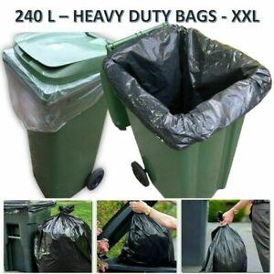 Clear & Black Heavy Duty Wheelie Refuse Sacks Strong 240L Bin Liners Rubbish Bag