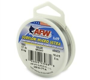 AFW Surflon Micro Ultra 1x19 Coated Stainless Leader 5m All Breaking Strains