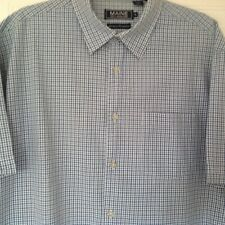 Men's Maine New England Blue White Checked Short Sleeved Cotton Shirt Size L VGC