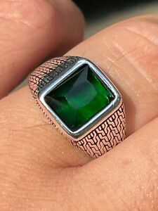 Mens Plain Real 925 Sterling Silver Green Emerald Stone Ring Size 7 8 9 10 11 12