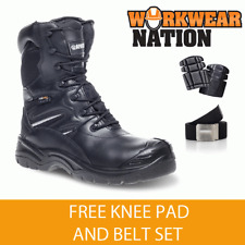 Apache Combat Water Proof Leather Military Work Boot Black Belt Amp Knee Pad