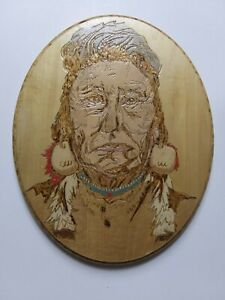 Vintage Folk Art Wood Indian - Authentic Hand Painted Homemade Wooden - A01