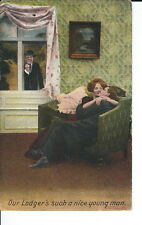 AT-066 - Our Lodger is Fine, Couple Kissing, Golden Age Postcard Divided bk 1909