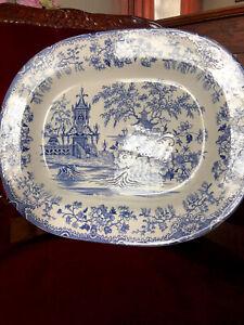 Antique Willow Pattern Serving Plate Platter
