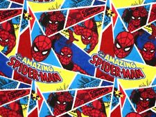 FAT QUARTER - FLANNEL FABRIC SPIDER MAN  SPIDERMAN COMIC SUPERHERO  QUILTING  FQ