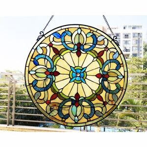 """22"""" x 22""""  Victorian Tiffany-Style Royal Stained Glass Round window Panel"""