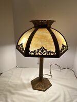 ANTIQUE ART DECO METAL MILLER SLAG GLASS LAMP