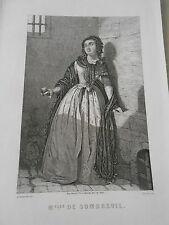 Gravure 19ème - Portrait de Mlle De Sombreuil