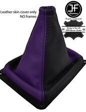 Black & púrpura cuero de grano superior MANUAL GEAR GAITER encaja Kia Sorento MK1 02-09