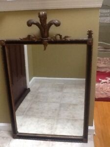 Antique Art Deco Mirror Black With Gold Accents Rectanular Shape