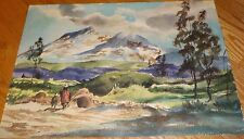 Mexican or Spanish Watercolor Painting Art - people landscape Mountains