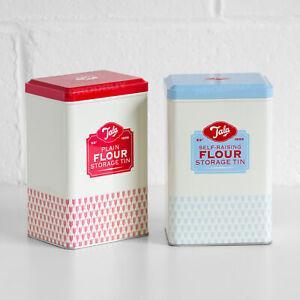 Set of 2 Tala Flour Storage Tins Plain & Self-Raising Vintage Retro Containers
