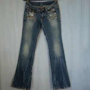 LOIS Ladies Denim Jeans Size 28 Low Rise Wide Leg Blue Factory Distressed
