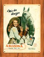 """TIN SIGN """"Arizona Cigarillos"""" Tobacco Cigarette Horse Spanish Ad Wall Decor"""