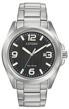 Citizen Eco-Drive Dress Black Dial Silver Tone Men's Sport Watch AW1430-86E SD