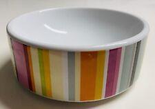 New listing Isaac Mizrahi For Target Ceramic Dog Cat Pet Food Bowl Pink Green Blue Stripe