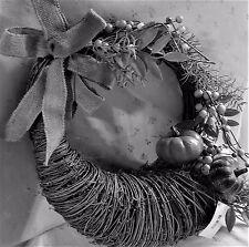 NWT Grape Vine Cornucopia on Round Wreath, Multi-Green Pumpkins, Burlap Bow