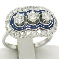 Vintage 18k White Gold 1.15ctw 3 Stone Ring w/ Round Diamond & Blue Enamel Halos