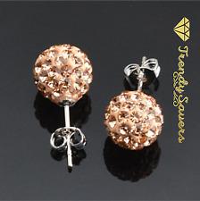 8mm Women Men 925 Sterling Silver Round Crystal Ball Ear Stud Earrings 7 Colours