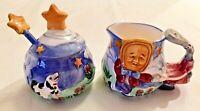 Humpty Dumpty Ceramic Creamer and Sugar Bowl w Lid and Spoon Designpac 4 pieces
