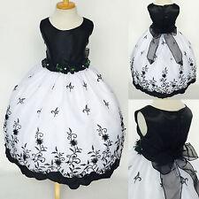 White Floral Embroidery Flower Girl Dress Graduation Wedding 2 4 6 8 10 12 14