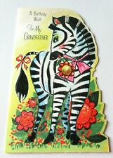 Vtg Greeting Card Cute Zebra with Red Flowers and Pink Bow