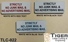 STRICTLY NO JUNK MAIL & NO ADVERTISING MAIL - WHITE/RED - 10CM X 4.5CM