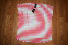 NWT Womens DESIGN HISTORY Coral White Striped Sequins Dolman S/S Shirt Blouse S