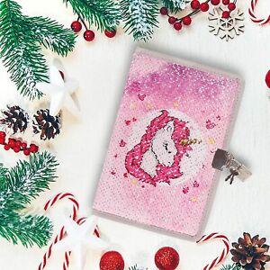 Girls Sequin Unicorn Lockable A5 Notebook Journal Secret Diary with Padlock Lock