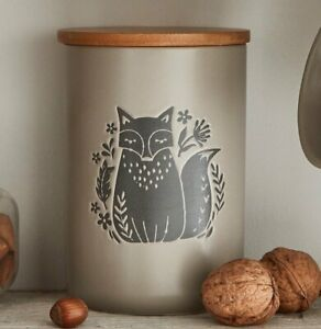 PUTTY Woodland FOX CANISTER Grey ANIMALS Ceramic Kitchen Food Storage JAR