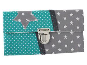 Damen Geldbörse Portemonnaie Stoff Sterne Punkte Türkis Handmade Dawanda Unikat