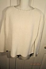 Vince Pullover Sweater, Small, White, cotton, long sleeves, boxy