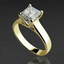 SOLITAIRE PRINCESS 1/2 CT DIAMOND 18K YELLOW GOLD ENGAGEMENT RING SIZE 5 - 9
