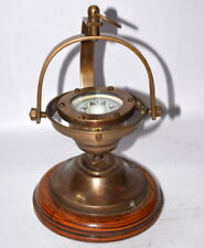 Antique brass gimbal compass ship's binnacle gimballed compass with wooden base